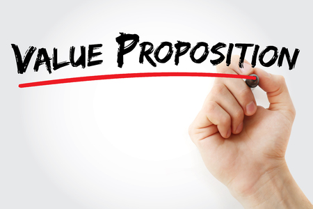 resonating: Hand writing Value Proposition with marker, business concept background