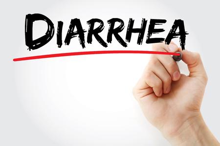 diarrea: Escritura de la mano Diarrea con el marcador, el concepto de salud de fondo