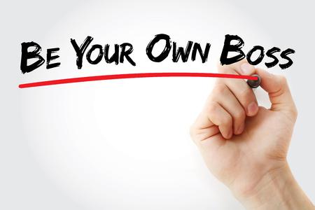 écrit à la main Soyez votre propre patron avec le marqueur, concept d'entreprise de fond