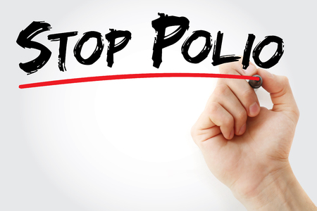 polio: Hand writing Stop Polio with marker, health concept background Stock Photo