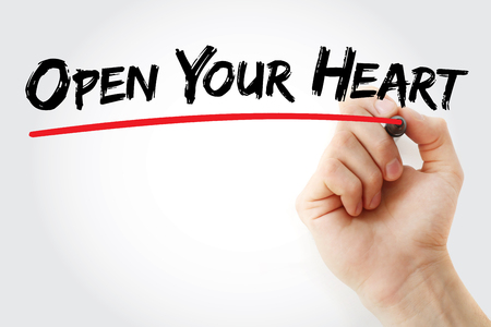 open your heart: Hand writing Open your heart with marker, concept background