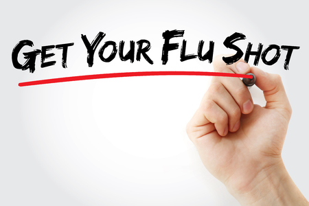 Hand writing Get Your Flu Shot with marker, health concept background