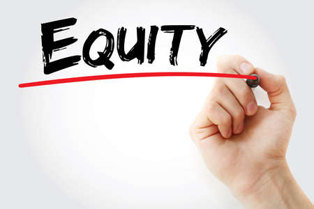 equity: Hand writing Equity with marker, business concept background