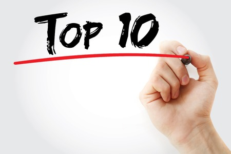 ten empty: Hand writing Top 10 with marker, business concept background