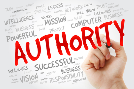 ascribed: Hand writing AUTHORITY with marker, business concept background Stock Photo