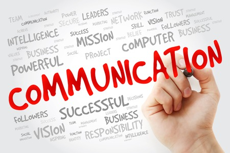 advisement: Hand writing COMMUNICATION with marker, business concept background Stock Photo