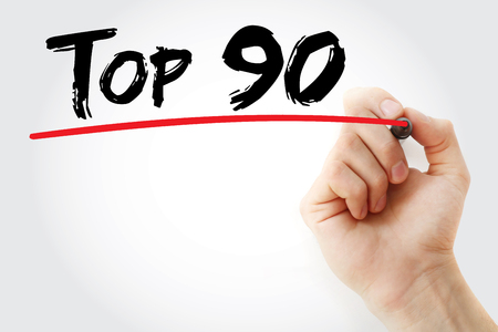 90: Hand writing Top 90 with marker, business concept background