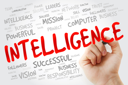 meta analysis: Hand writing Intelligence with marker, business concept background