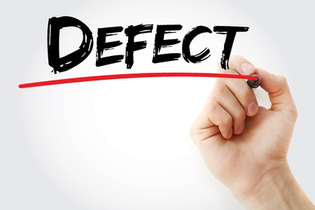 defect: Hand writing Defect with marker, business concept background Stock Photo