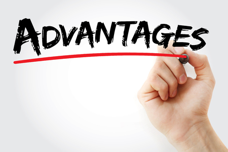 advantages: Hand writing Advantages with marker, business concept background