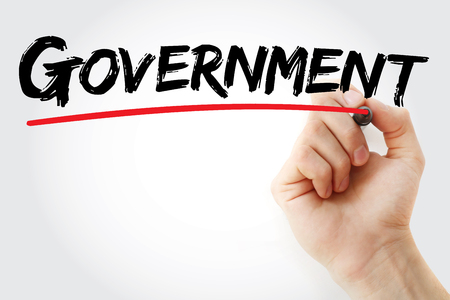gov: Hand writing Government with marker, business concept background
