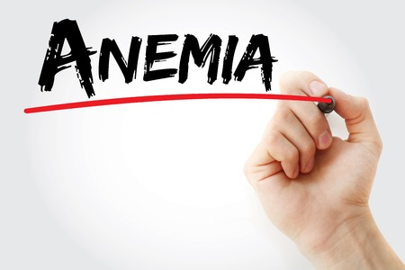 anemia: Hand writing Anemia with marker, health concept background