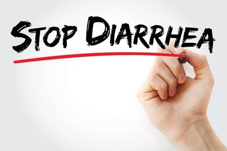 diarrea: Escritura de la mano con marcador detener la diarrea, el concepto de salud de fondo