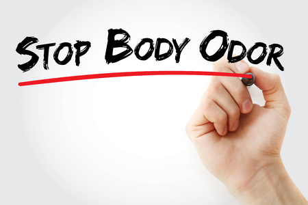 odor: Hand writing Stop Body Odor with marker, health concept background Stock Photo