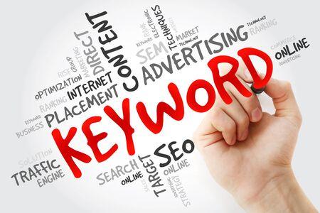 keyword: Hand writing KEYWORD word cloud, business concept