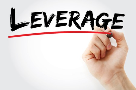 leverage: Hand writing Leverage with marker, business concept background