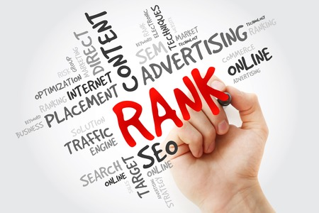 rank: Hand writing RANK word cloud, business concept