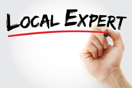 skillset: Hand writing Local Expert with marker, business concept background Stock Photo