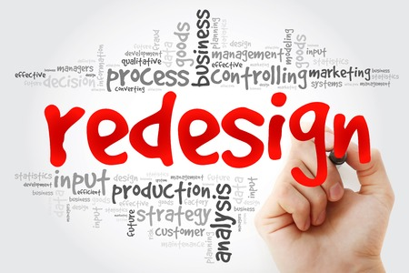 redesign: Hand writing REDESIGN word cloud, business concept Stock Photo
