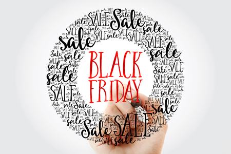 writing black: Hand writing Black Friday circle word cloud, business concept background