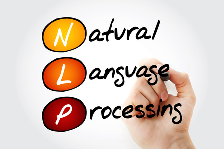 linguistics: Hand writing NLP Natural Language Processing with marker, acronym concept