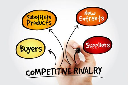 Hand writing Competitive Rivalry five forces mind map flowchart business concept for presentations and reports Stock Photo