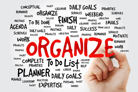 organize: Hand writing Organize word cloud business concept Stock Photo