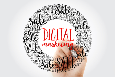 decoding: Hand writing Digital Marketing circle word cloud, business concept background Stock Photo