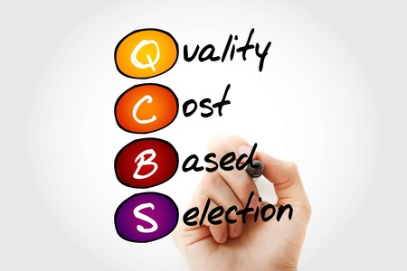is based: Hand writing QCBS - Quality and Cost Based Selection with marker, acronym business concept