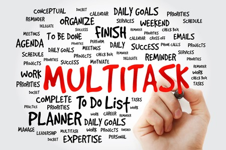 multitask: Hand writing MULTITASK word cloud, business concept background Stock Photo