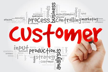customer facing: Hand writing Customer word cloud, business concept Stock Photo