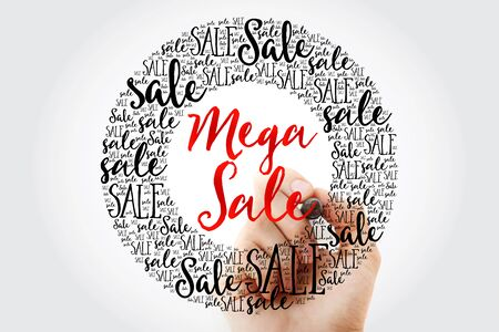 mega sale: Hand writing MEGA SALE circle word cloud, business concept background