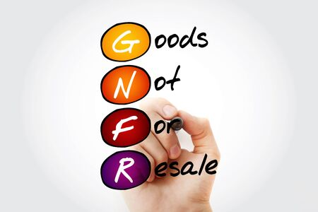 resale: Hand writing GNFR - Goods Not For Resale with marker, acronym business concept Stock Photo