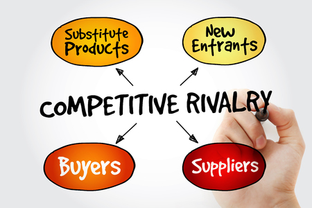 entrants: Hand writing Competitive Rivalry five forces mind map flowchart business concept for presentations and reports Stock Photo