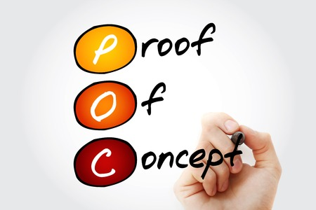 verifying: Hand writing POC - Proof of Concept with marker, acronym business concept Stock Photo
