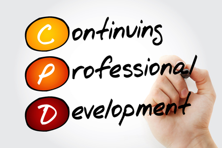 Hand writing CPD - Continuing Professional Development with marker, acronym business concept