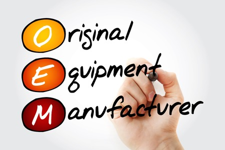 manufacturer: Hand writing OEM Original Equipment Manufacturer with marker, acronym business concept