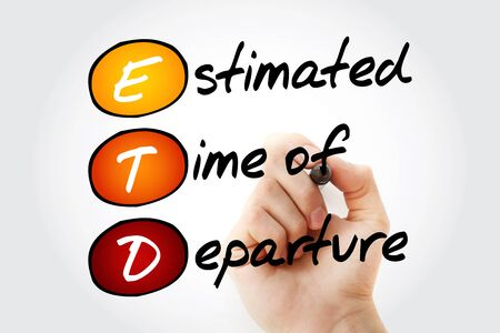 estimated: Hand writing ETD - Estimated Time of Departure with marker, acronym business concept Stock Photo
