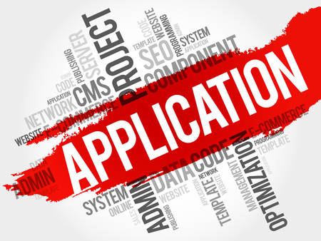 reloading: Application word cloud, business concept Illustration