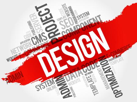 dynamic html: DESIGN word cloud, creative business concept