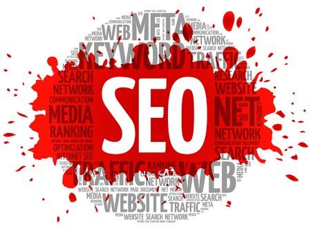 meta: SEO - Search Engine Optimization word cloud, business concept Illustration