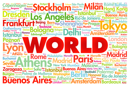 visit us: WORLD word cloud concept made with words cities names, business concept background