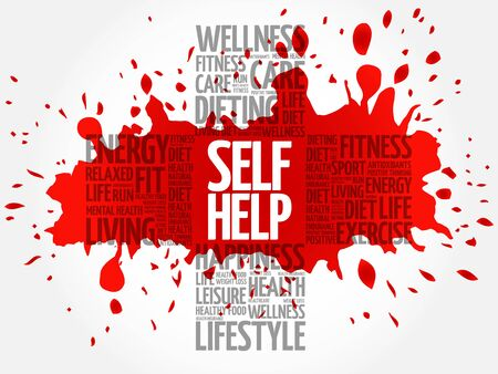 publicly: Self Help word cloud, health cross concept Illustration