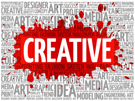 creative: CREATIVE word cloud, creative business concept background Illustration
