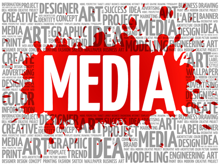 wiki: MEDIA word cloud, creative business concept background Illustration