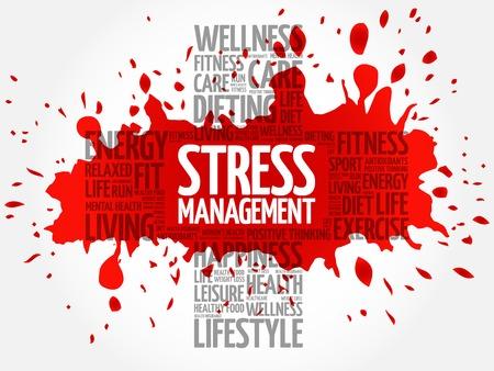 stress management: Stress Management word cloud, health cross concept