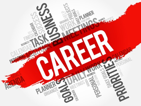 job satisfaction: CAREER word cloud, business concept background