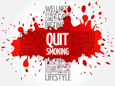 quit: Quit Smoking word cloud, health cross concept