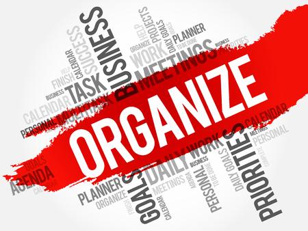 Organizar palabra nube concepto de negocio