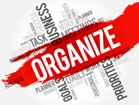 organize: Organize word cloud business concept